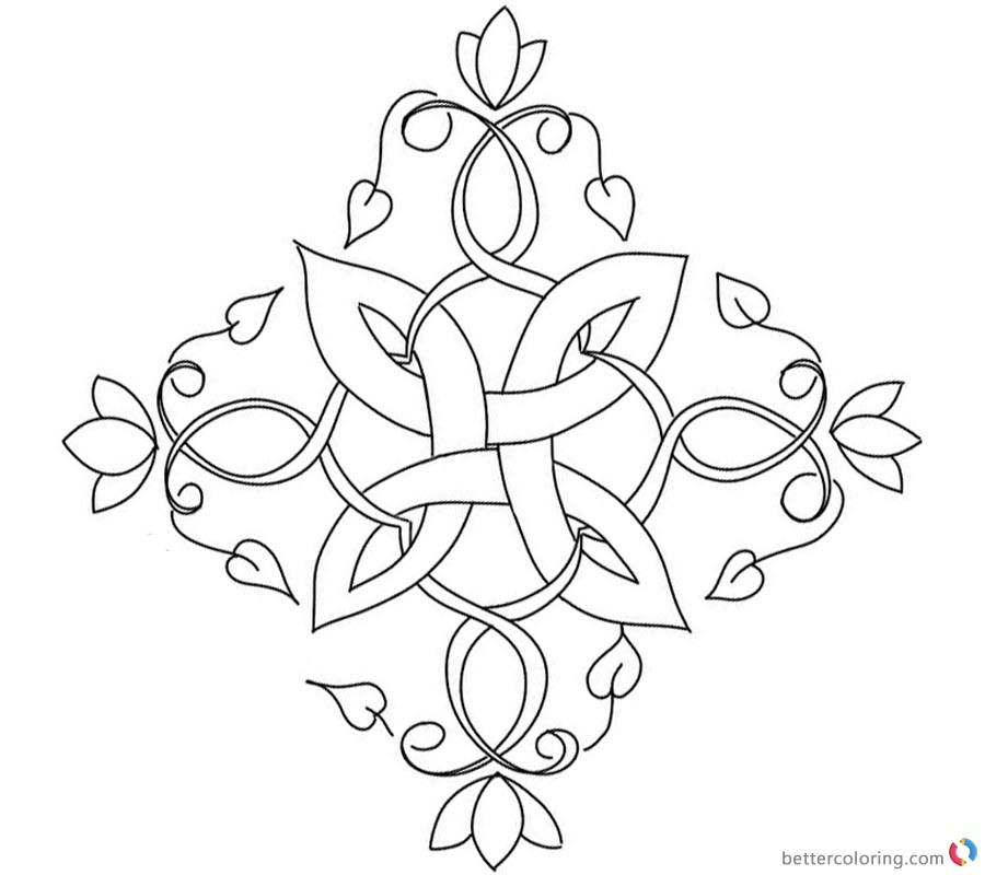 Celtic Coloring Sheets For Girls Flowers  Flowers Celtic Knot Coloring Pages Free Printable