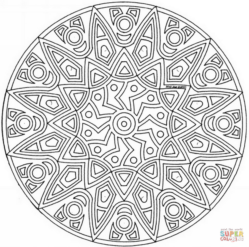Celtic Coloring Sheets For Girls Flowers  Celtic Mandala with Flower coloring page