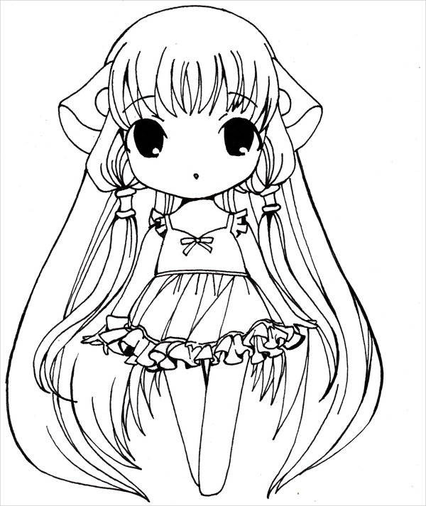Chibi Girl Coloring Pages  9 Anime Girl Coloring Pages PDF JPG AI Illustrator