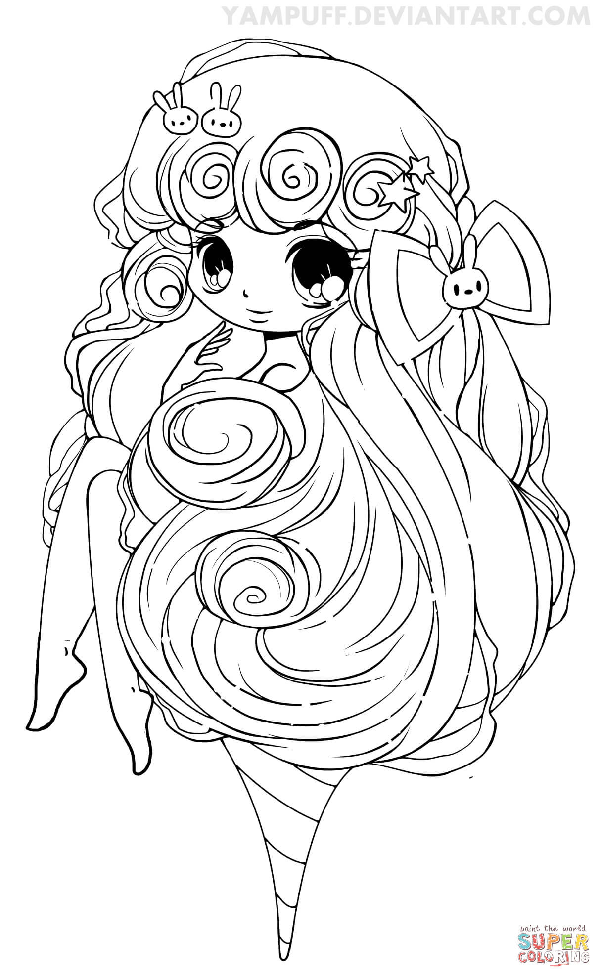 Chibi Girl Coloring Pages  Chibi Cotton Candy Girl coloring page