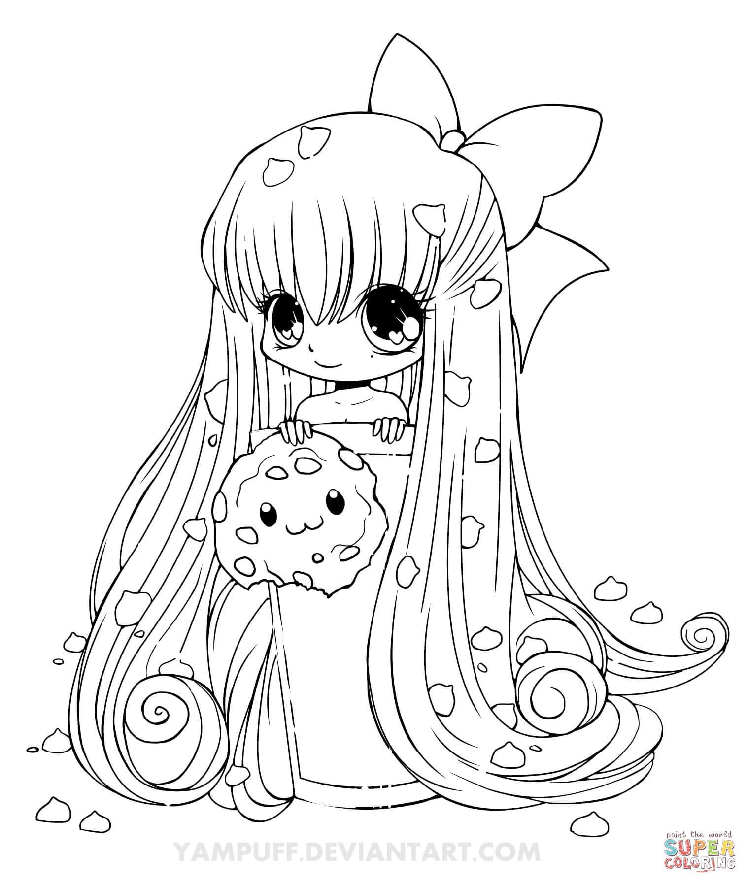 Chibi Girl Coloring Pages  Dibujo de Chica Chibi con Galleta para colorear