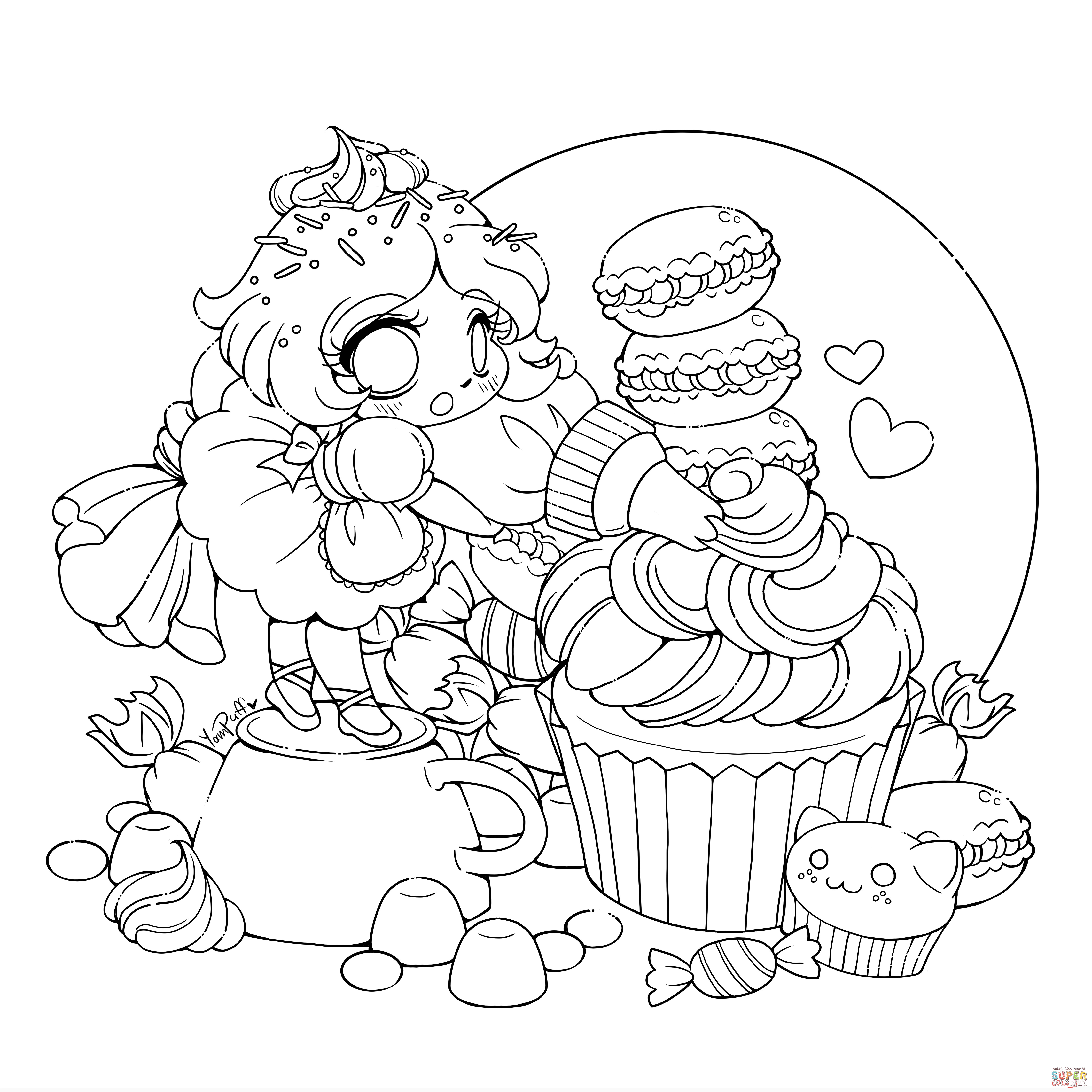 Chibi Girl Coloring Pages  Anime Girl Coloring Pages coloringsuite