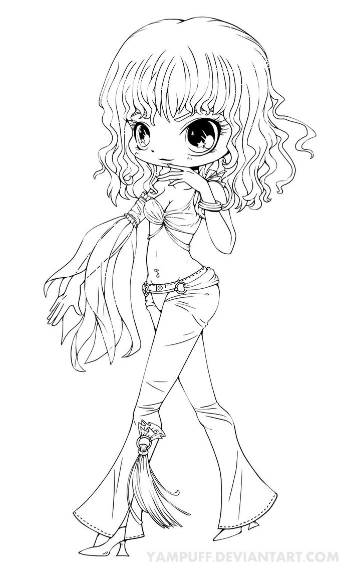 Chibi Girl Coloring Pages  Britney Spears Chibi Lineart Slave 4 U by YamPuff on