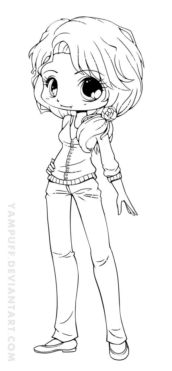 Chibi Girl Coloring Pages  18 best images about coloring pages on Pinterest