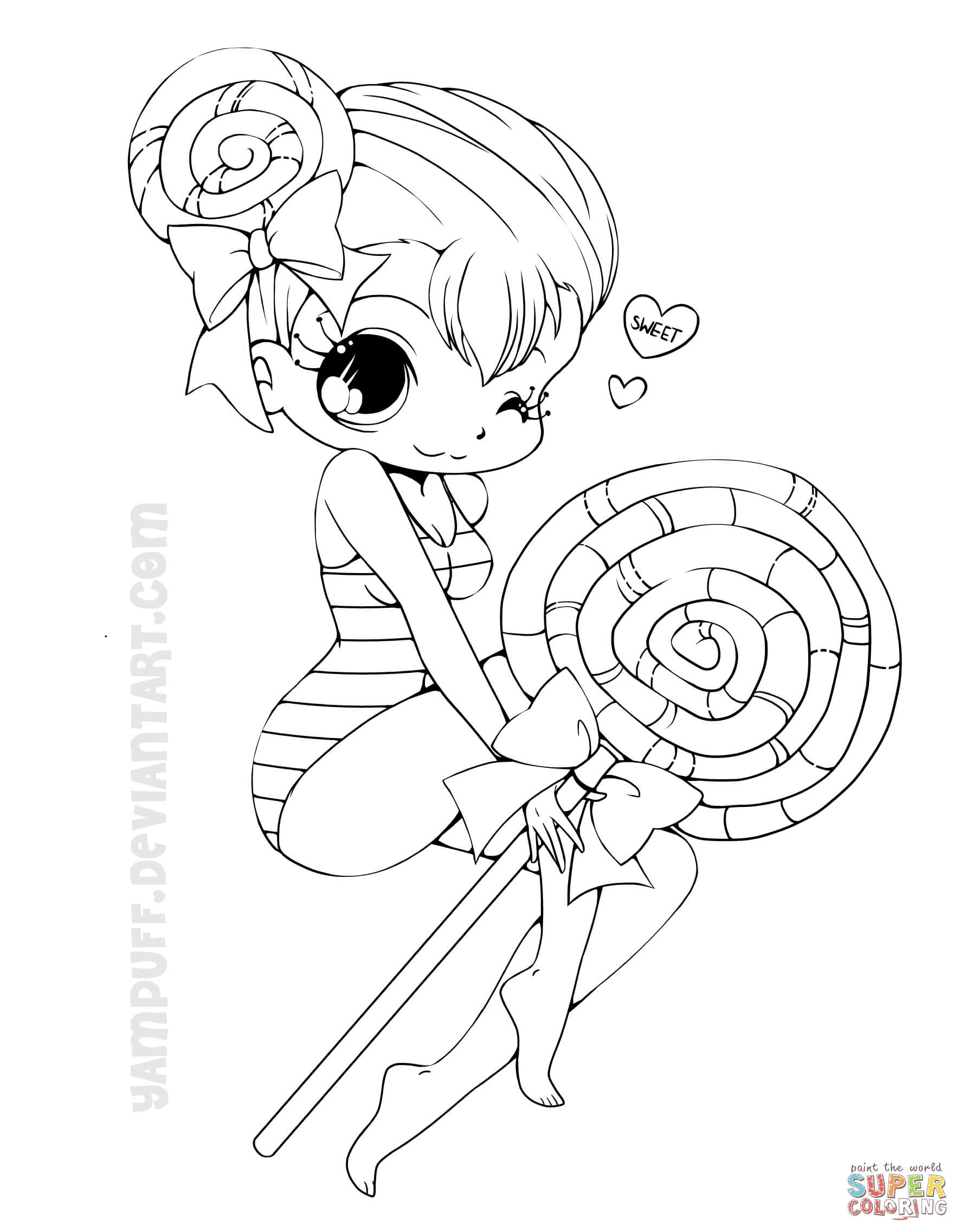 Chibi Girl Coloring Pages  Chibi Lollipop Girl coloring page