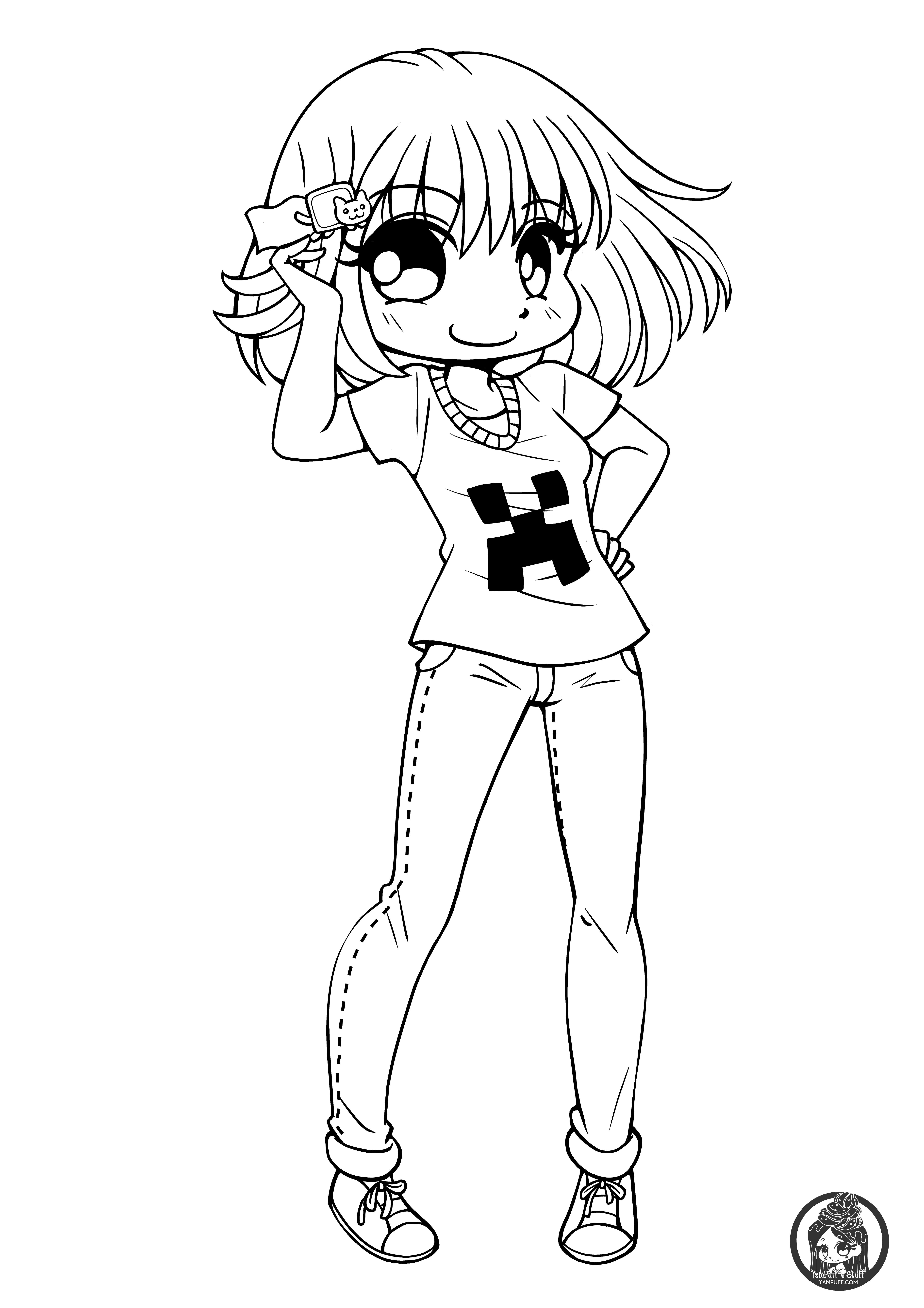 Chibi Girl Coloring Pages  Chibis Free Chibi Coloring Pages • YamPuff s Stuff