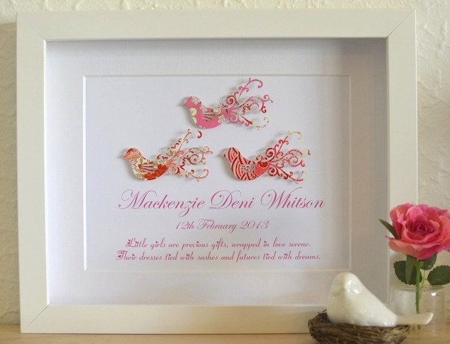Christening Gift Ideas For Baby Girl  Gorgeous Love Bird Framed Art Baby Gift Idea Personalised