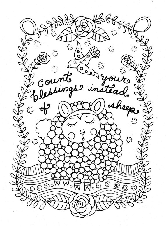Christian Printable Coloring Sheets For Girls  Printable Coloring Page Count Sheep Christian Art Girls Room