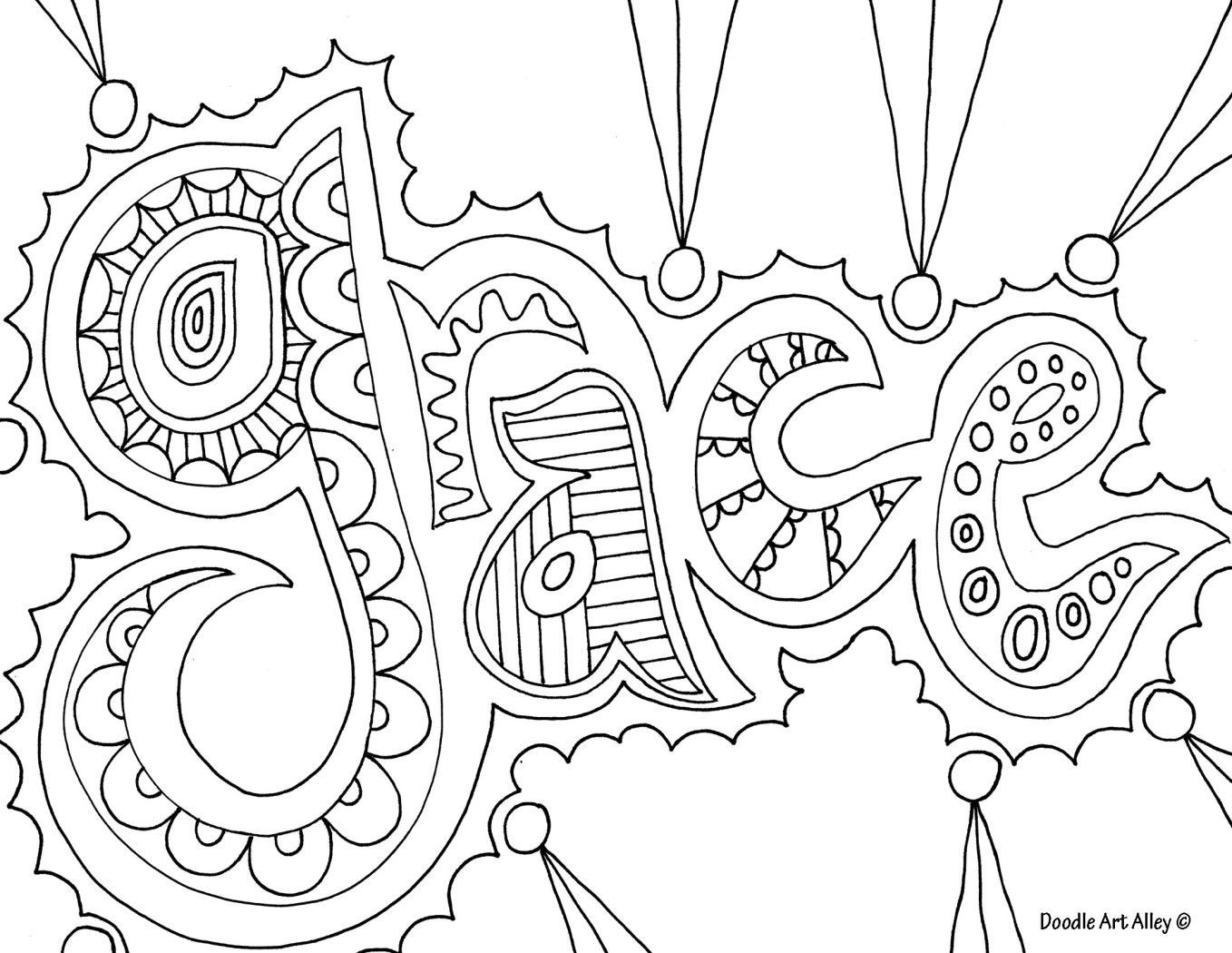 Christian Printable Coloring Sheets For Girls  Doodle art grace nice coloring page for older kids