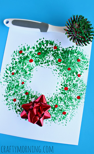 Best ideas about Christmas Arts And Crafts For Preschoolers . Save or Pin Dish Brush Christmas Wreath Craft for Kids Crafty Morning Now.