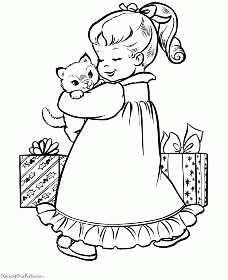 Christmas Coloring Pages For Girls  Get This Cute Kitten Coloring Pages Free Printable