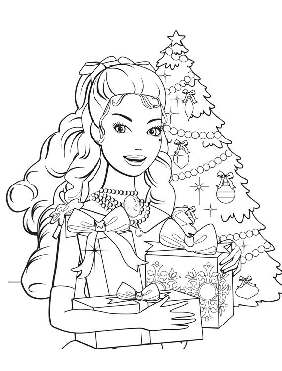 Christmas Coloring Pages For Girls  Barbie Christmas Coloring Pages