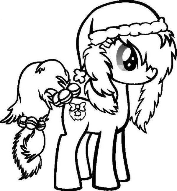 Christmas Coloring Pages For Girls  Cute Little Pony Christmas Coloring Pages Christmas