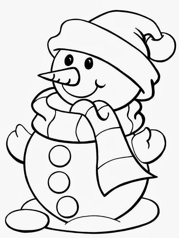 Christmas Coloring Pages For Kids Printable  5 Free Christmas Printable Coloring Pages Snowman Tree