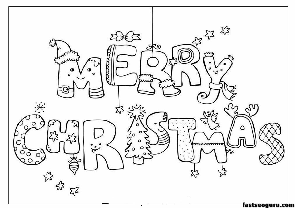 Christmas Coloring Pages For Kids To Print Out  Merry christmas print out coloring pages Printable