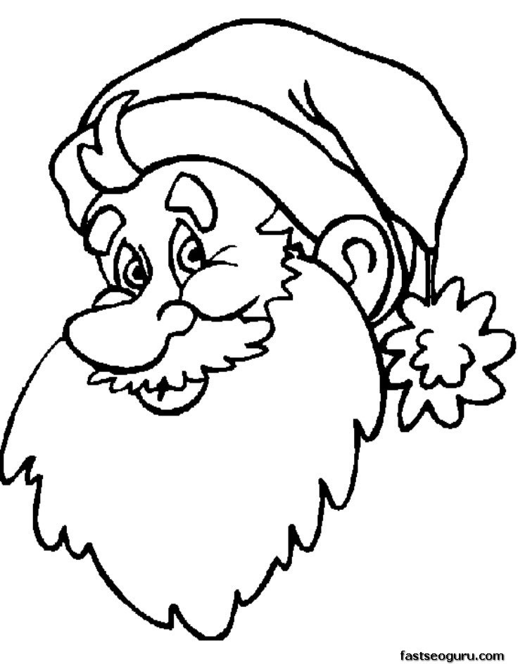 Christmas Coloring Pages For Kids To Print Out  Coloring Pages Print Out Christmas Santa Face Coloring
