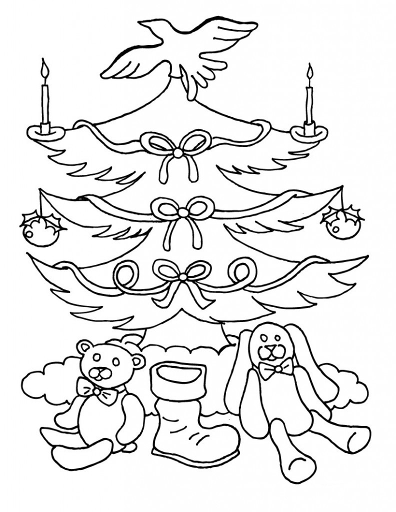 Christmas Coloring Sheets For Kids Free  Free Printable Christmas Tree Coloring Pages For Kids