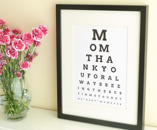 Christmas Gift Ideas For Moms From Daughters  DIY Eye Chart Personalized Mothers Day Gift