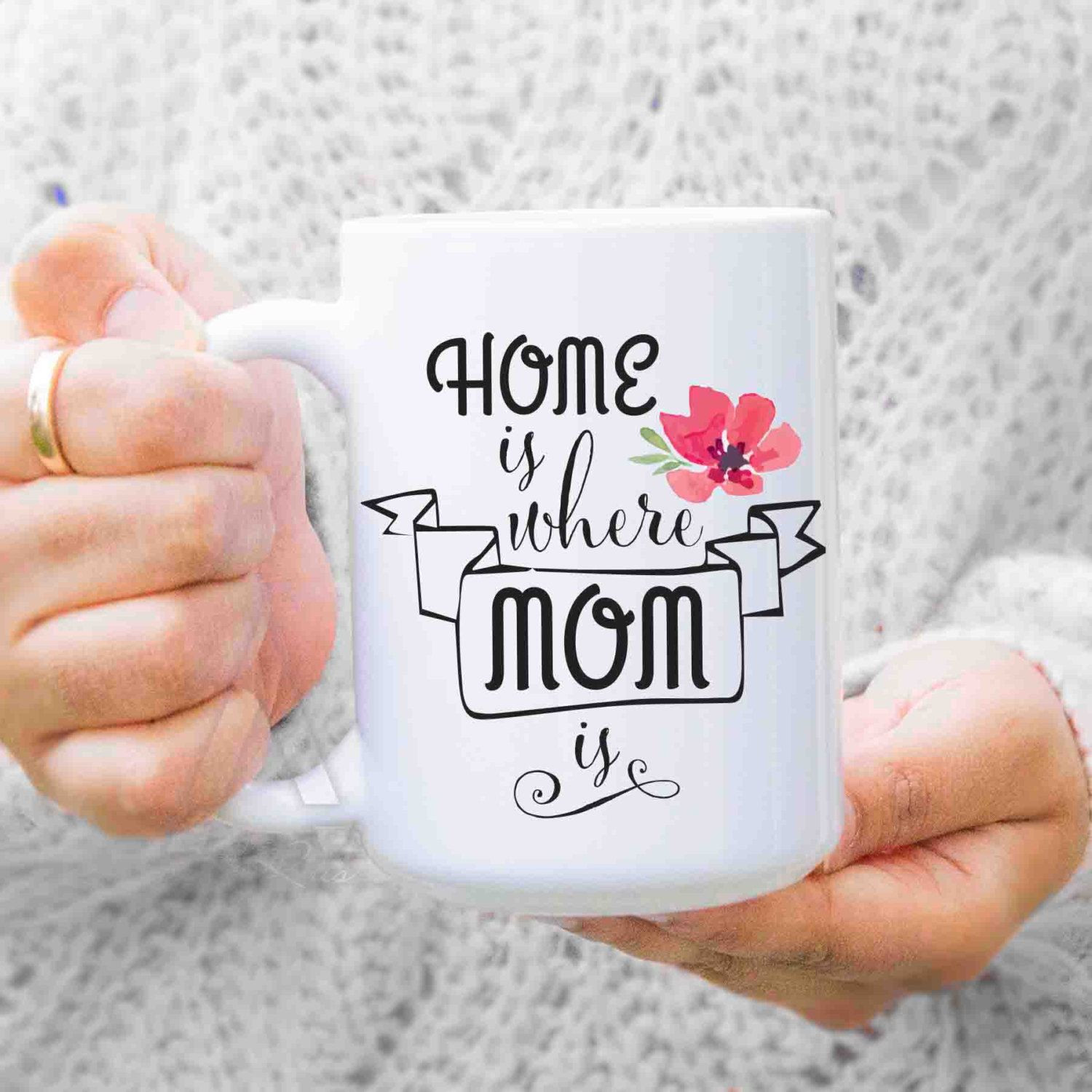"Christmas Gift Ideas For Moms From Daughters  ts for mom from daughter ""Home is where mom is"" coffee"