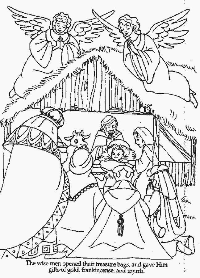 Christmas Nativity Coloring Sheets For Kids  XMAS COLORING PAGES