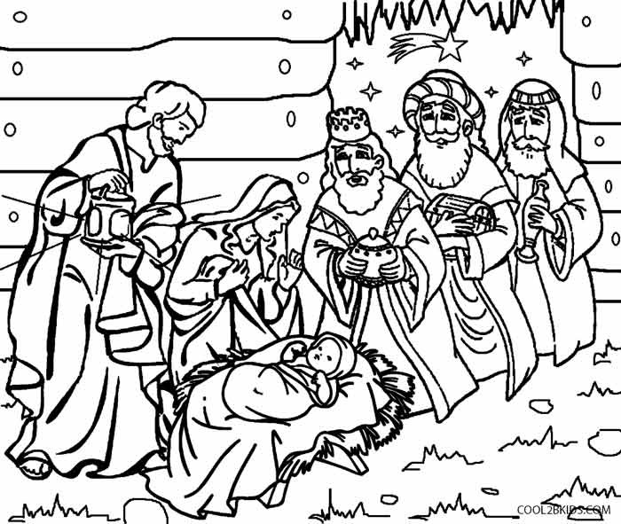 Christmas Nativity Coloring Sheets For Kids  Printable Nativity Scene Coloring Pages for Kids