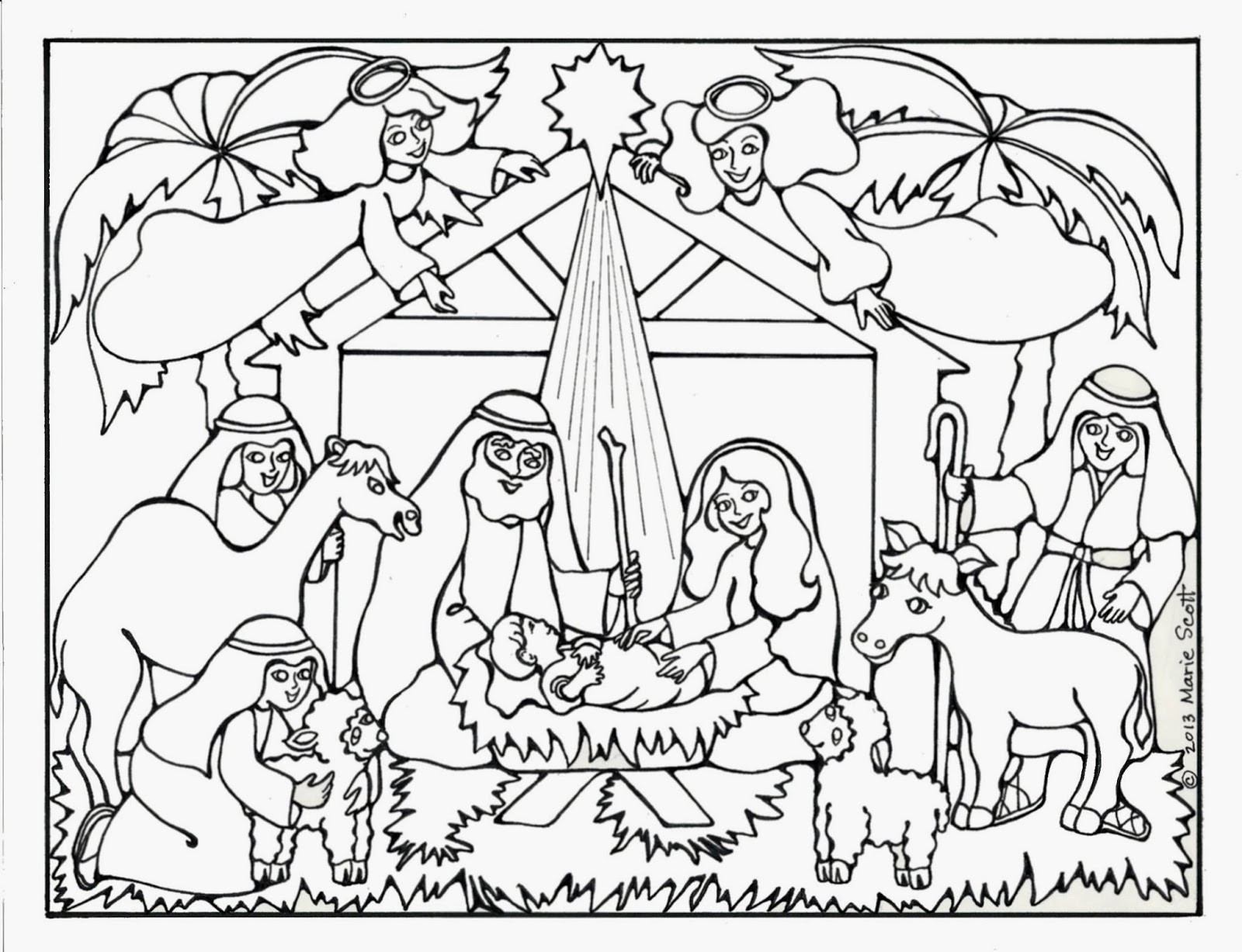 Christmas Nativity Coloring Sheets For Kids  Serendipity Hollow Nativity Coloring Book Page