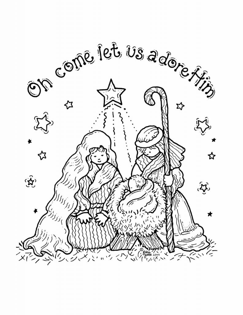 Christmas Nativity Coloring Sheets For Kids  Free Printable Nativity Coloring Pages for Kids Best