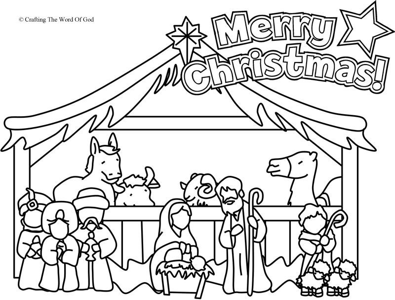 Christmas Nativity Coloring Sheets For Kids  Nativity Coloring Page Coloring Page Crafting The Word