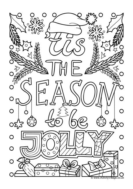 Christmas Printable Coloring Sheets For Older Kids  Tis the Season To Be Jolly Colouring Page