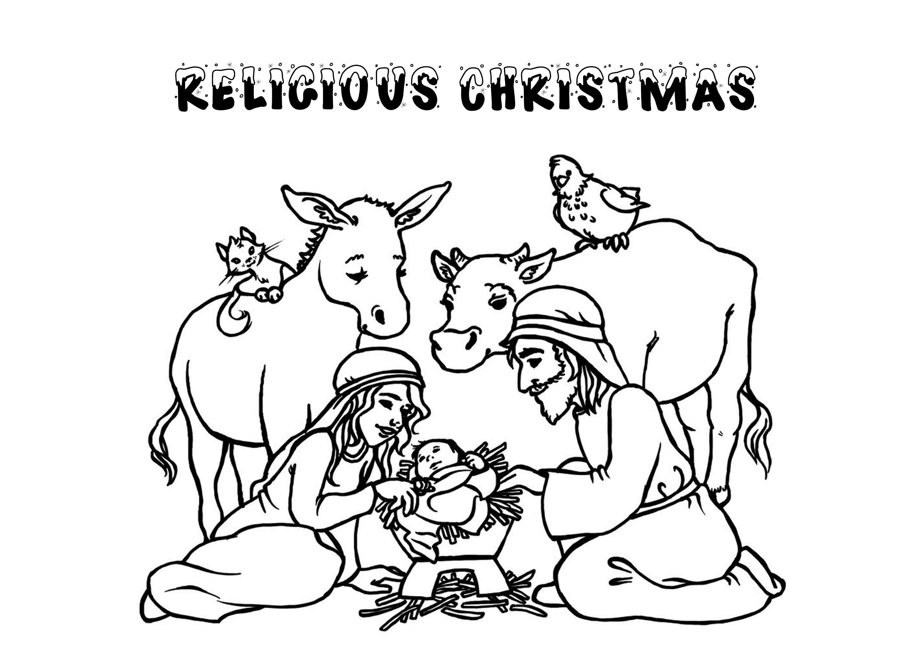 Christmas Religious Coloring Pages For Kids  Christmas Religious Printable Coloring Pages Coloring Home