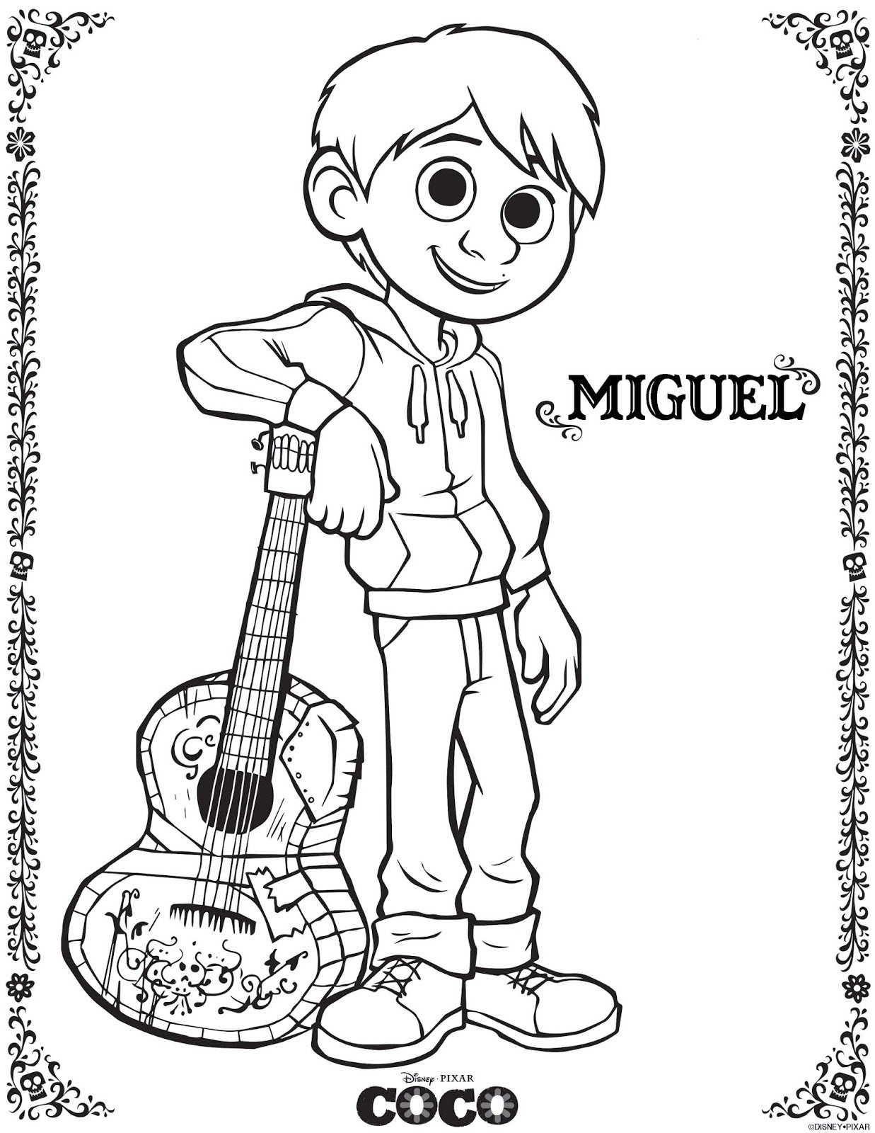 Coco Coloring Pages  Be Brave Keep Going Free Printable Coco Movie Coloring Pages