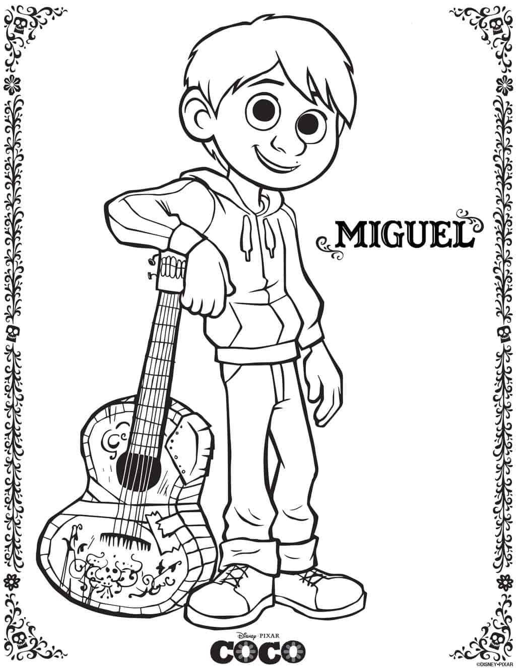 Coco Coloring Pages  Disney s Coco Movie Printables Activity Sheets Made