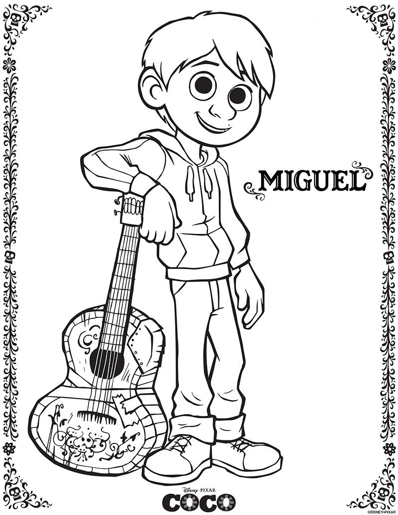 Coco Coloring Pages  Disney Pixar's Coco Printable Coloring Pages and Activity