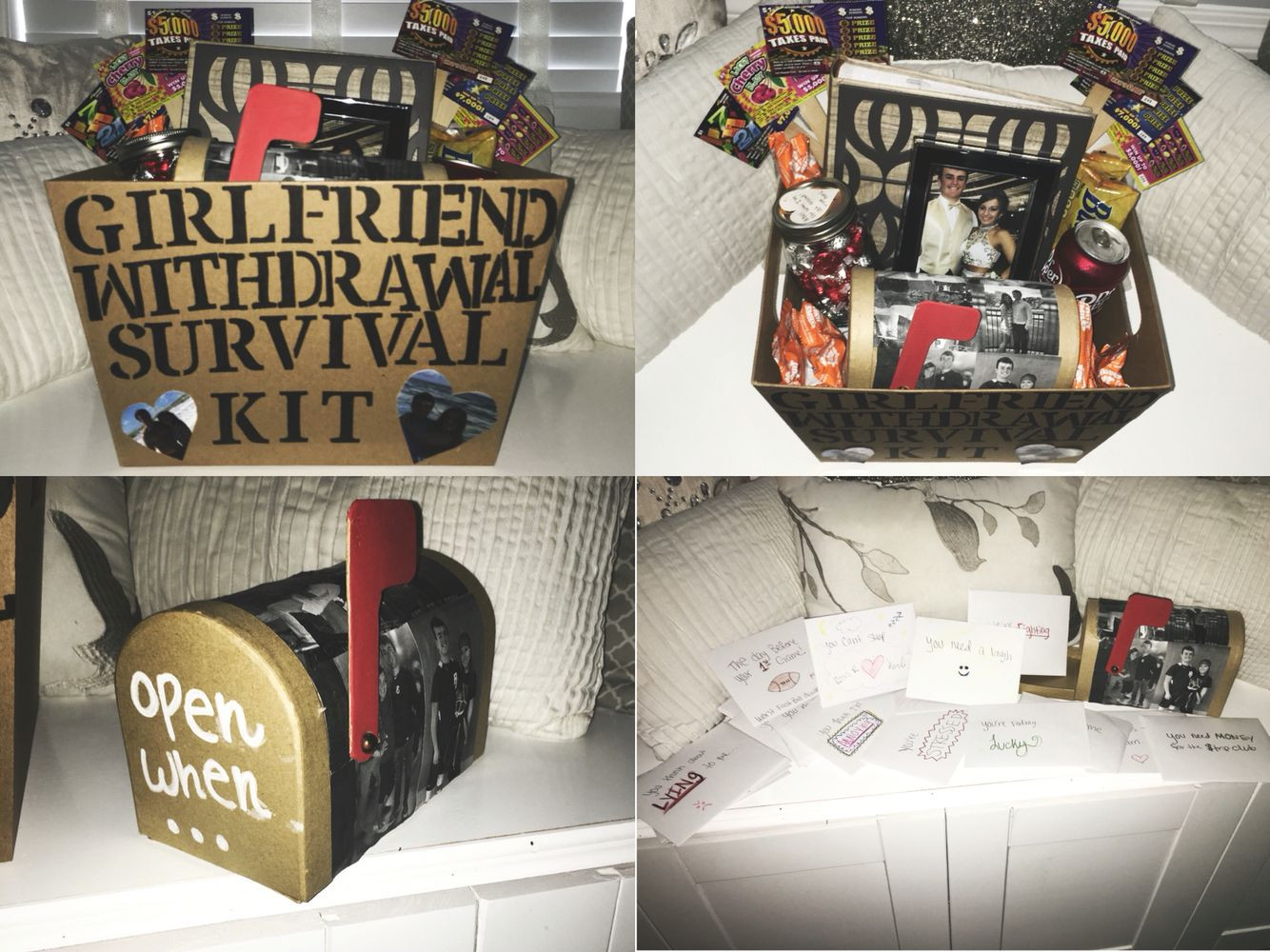 College Boyfriend Gift Ideas  Girlfriend withdrawal survival kit and open when letters