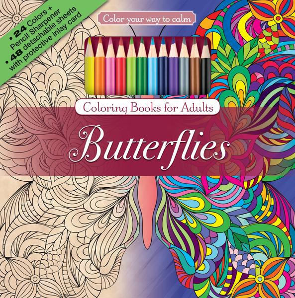 Colored Pencil Coloring Books  Butterflies Adult Coloring Book With Color Pencils Color