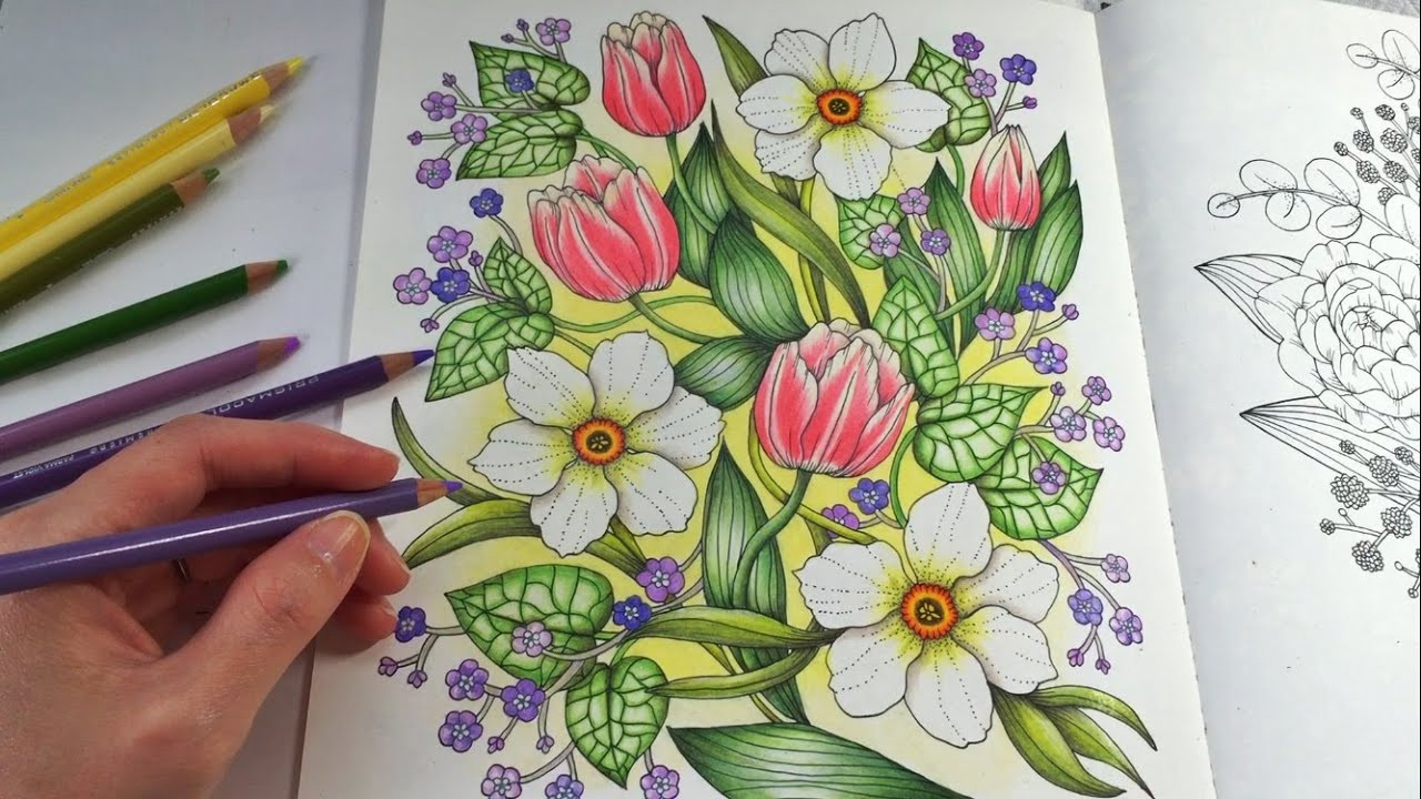 Colored Pencil Coloring Books  HAPPY GARDEN Blomstermandala Coloring Book