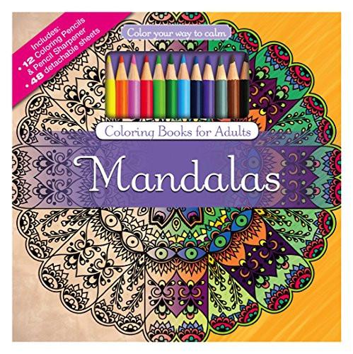 Colored Pencil Coloring Books  Mandalas Adult Coloring Book Set With Colored Pencils And