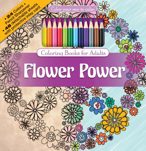 Colored Pencil Coloring Books  Flower Power Adult Coloring Book With Color Pencils