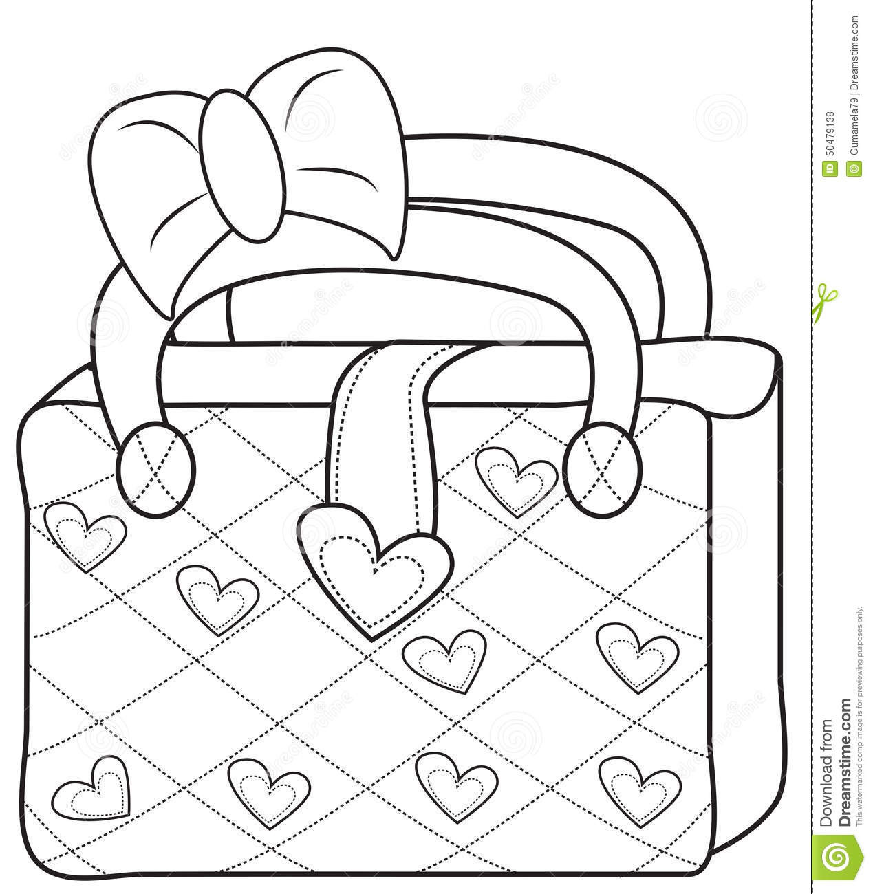 Coloring Book Bag  La s bag coloring page stock illustration Image of