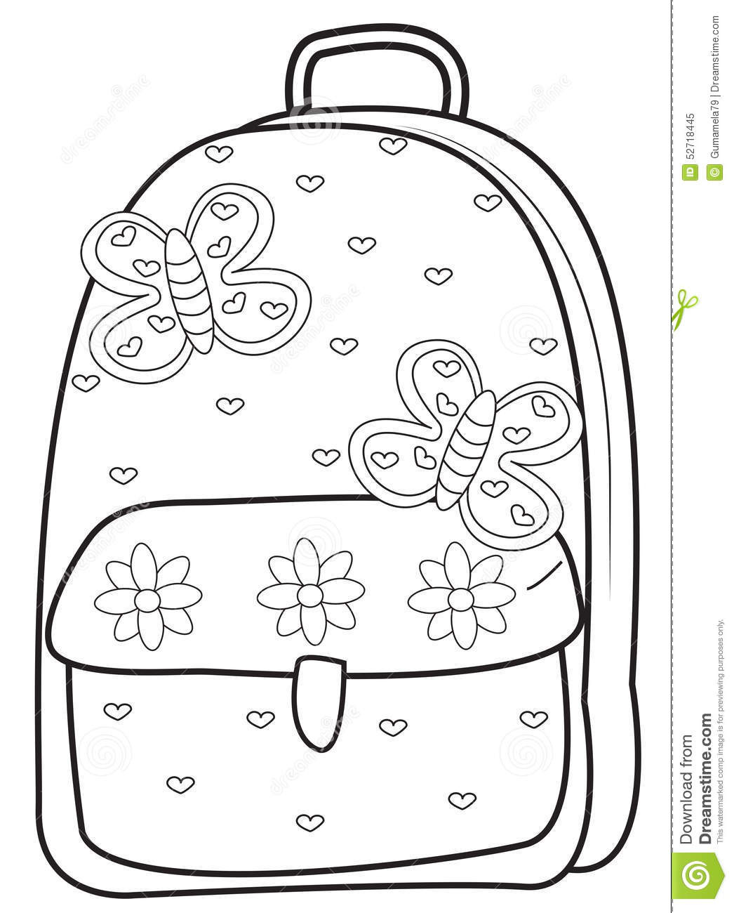 Coloring Book Bag  Backpack coloring page stock illustration Image of clip