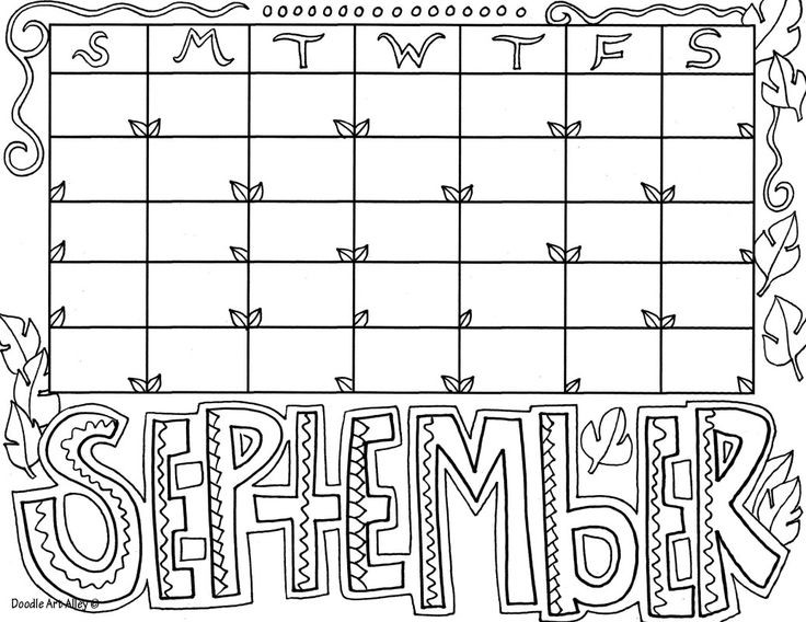 Coloring Book Calendars  september Saying coloring picture