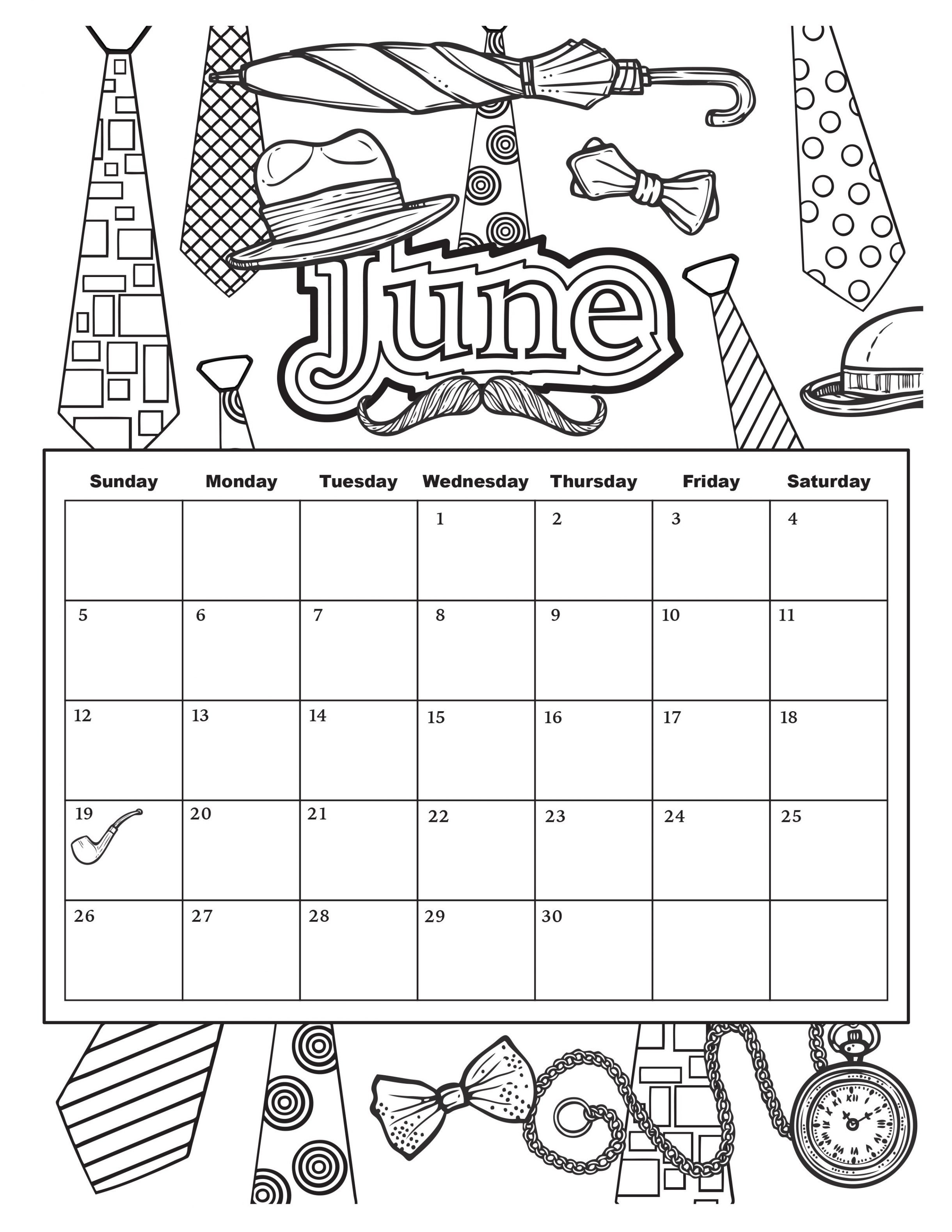 Coloring Book Calendars  June Coloring Pages 2017