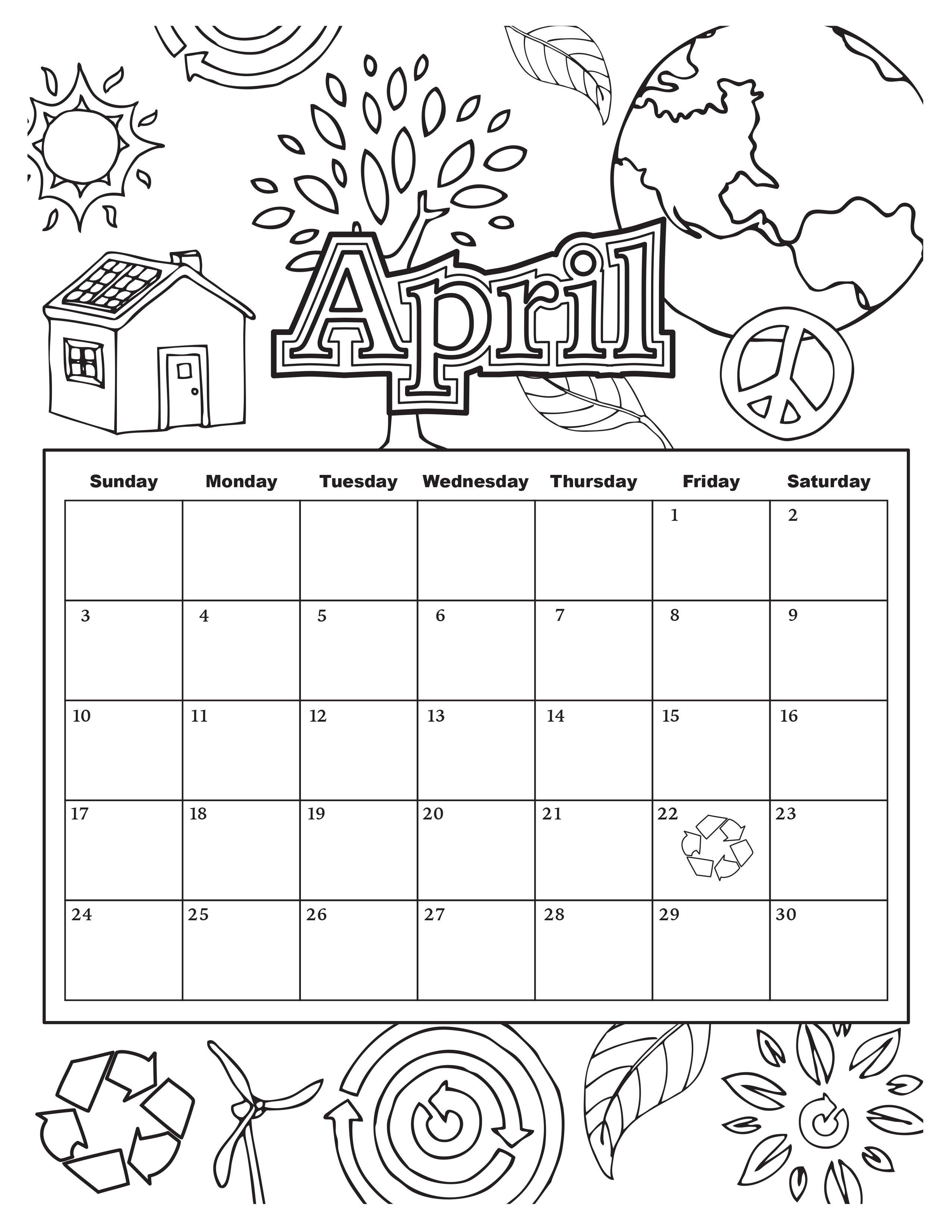 Coloring Book Calendars  April Coloring Pages coloringsuite