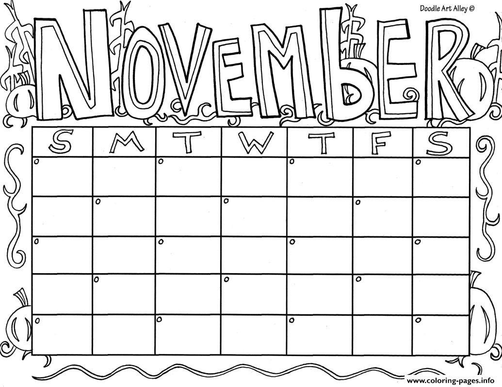 Coloring Book Calendars  November Calendar Coloring Pages Printable