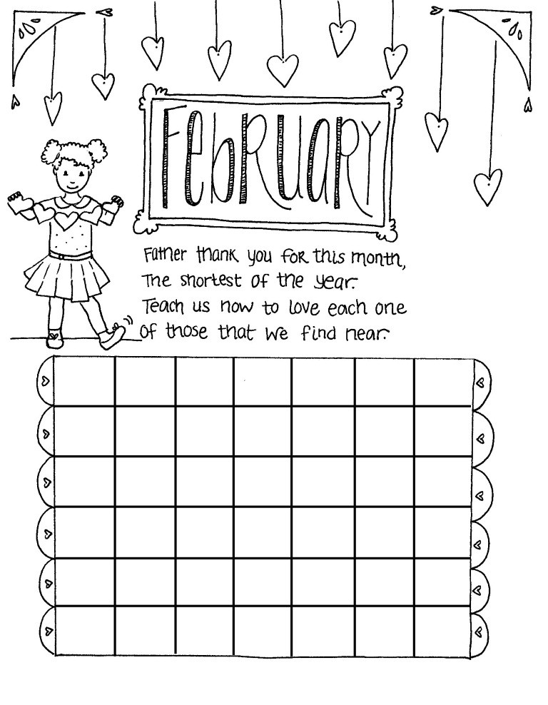Coloring Book Calendars  February Coloring Pages Printable For Kids GreePX