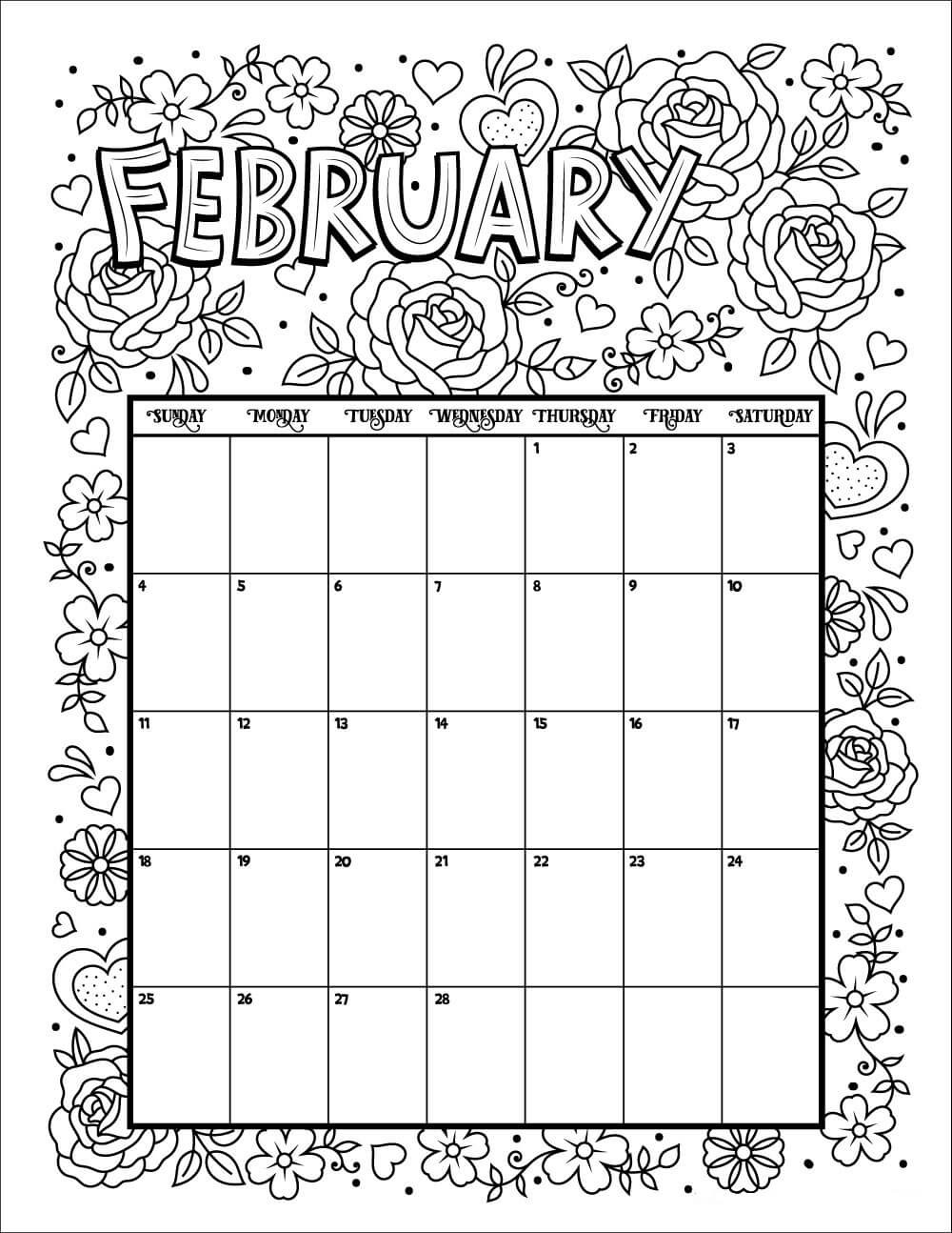Coloring Book Calendars  20 Free Printable February Coloring Pages