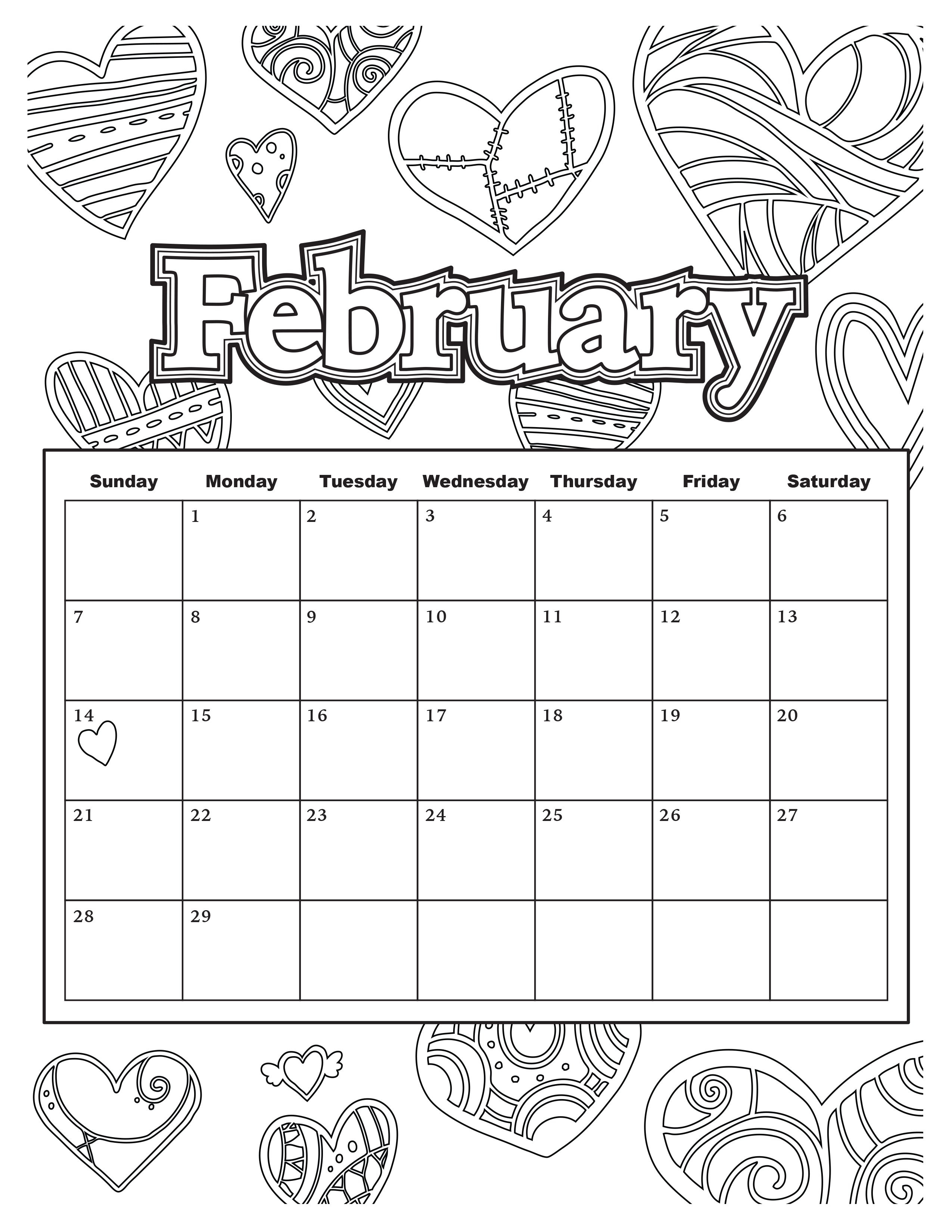 Coloring Book Calendars  Calendar With Blank To Color For Adults The Art