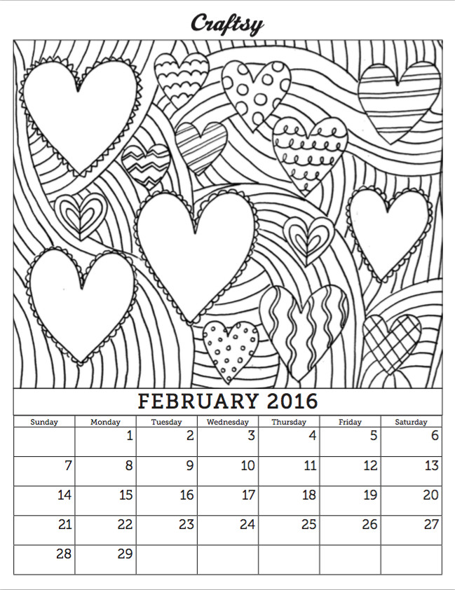 Coloring Book Calendars  Free February 2016 Coloring Calendar Page