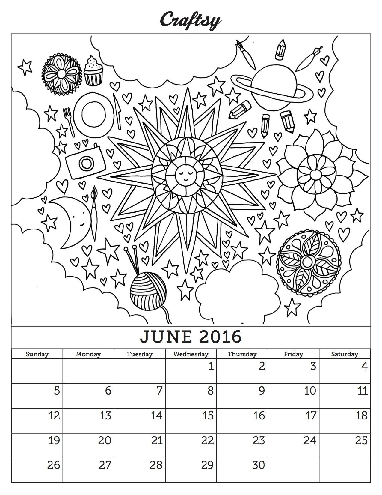 Coloring Book Calendars  June 2016 Coloring Book Calendar page