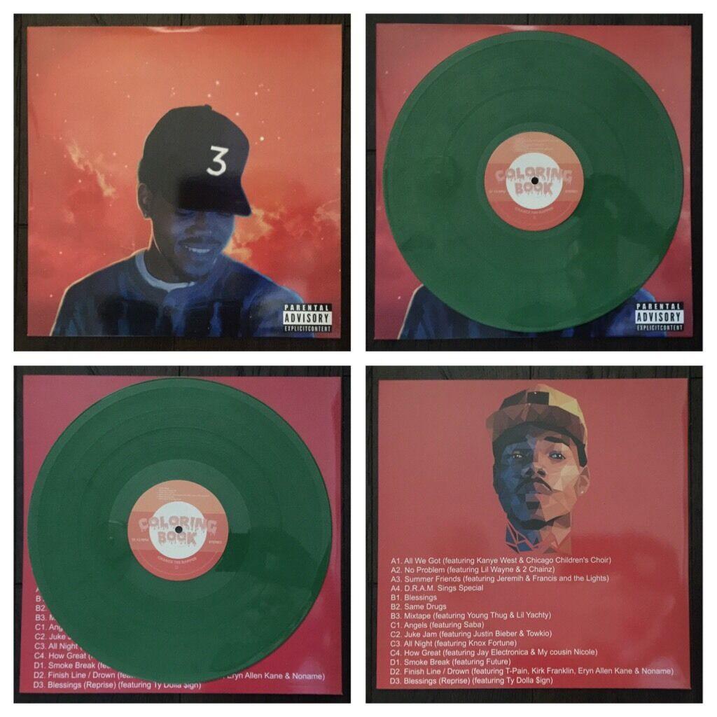 Coloring Book Chance The Rapper Vinyl  RARE CHANCE THE RAPPER COLORING BOOK GREEN KUSH COLOR